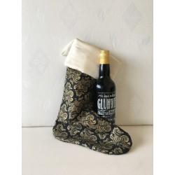 Kerstbal met ruitjes damast, band en pareltjes Ø 6 cm