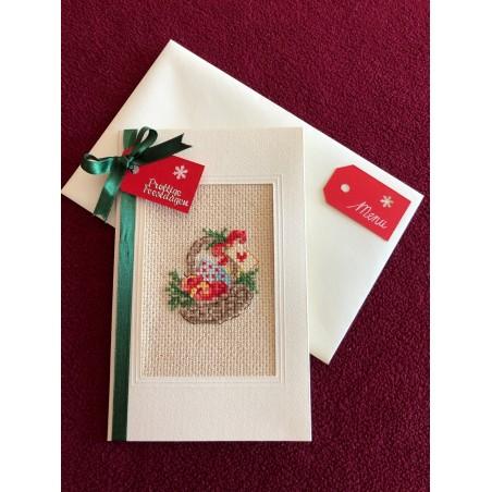 Mondkapje van katoen groen blauwe bloemetjes op offwhite ondergrond €8,25