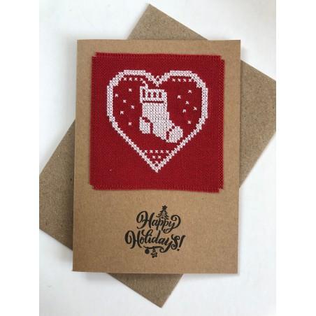 Kerstbal met handgeborduurde zuurstok en hulsttakjes Ø 8 cm