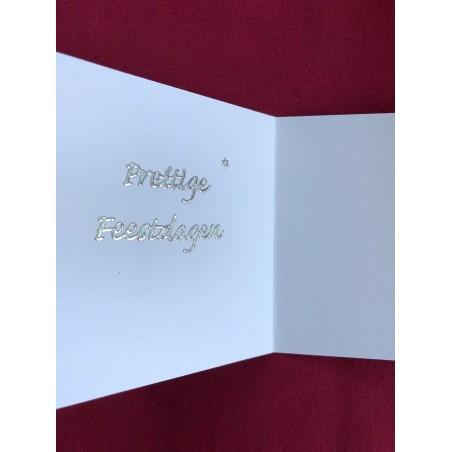 Kerstbal met handgeborduurd kerstvogeltje en hulst Ø 8 cm €6,95